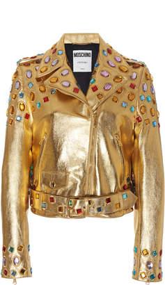Moschino Jewel-Embellished Biker Jacket