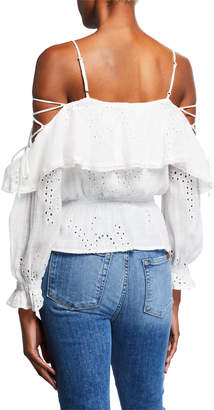 Astr Kennedy Cold Shoulder Eyelet Top