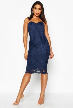 boohoo Boutique Isla Mesh Panelled Strappy Midi Dress