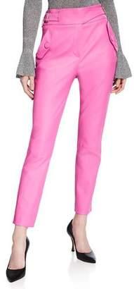 Veronica Beard Jania High-Rise Leather Ankle Pants