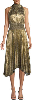 A.L.C. Renzo High-Neck Pleated Midi Dress