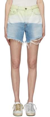 GRLFRND 'Jourdan' ripped cuff ombre denim shorts