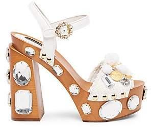 Dolce & Gabbana Dolce& Gabbana Dolce& Gabbana Women's Embellished Wooden Platform Sandals
