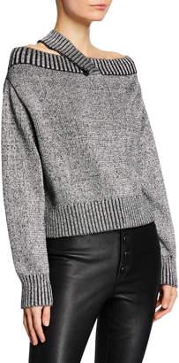 RtA Beckett Off-Shoulder Metallic Sweater