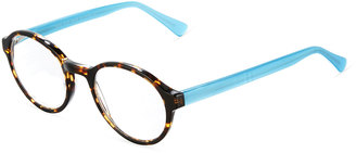 A. J. Morgan Ostrich Two-Tone Round Acetate Readers, Tortoise/Blue $36 thestylecure.com