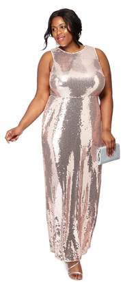 Debut - Light Pink Sequin 'Clara' Plus Size Maxi Dress