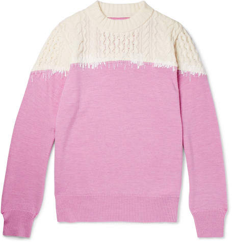 Sacai Embroidered Panelled Wool Sweater
