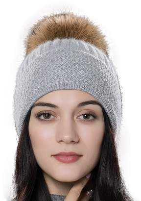 182cfc8b8ce70 URSFUR Autumn Knitted Caps with Fur Ball Pompom Hats Women Winter Headwear  Gray