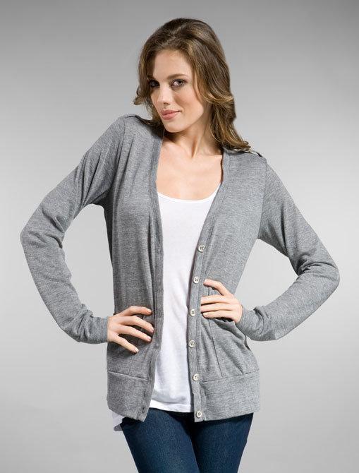 fLuXuS Pocket Cardigan in Heather Grey