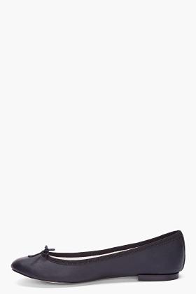 Repetto Black Leather Ballerina Flats