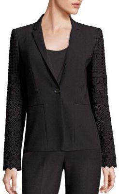 Elie Tahari Tova Lace Trimmed Jacket $498 thestylecure.com