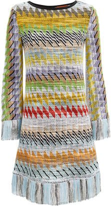 Missoni Usa Fringed Zig Zag Print Dress