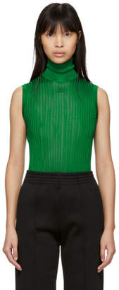 Givenchy Green Knit 4G Sleeveless Turtleneck
