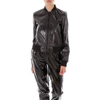 MICHAEL Michael Kors Patent Ribbed Bomber Jacket