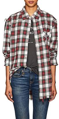 R 13 Women's Plaid Shredded Cotton Flannel Shirt - Ivorybone