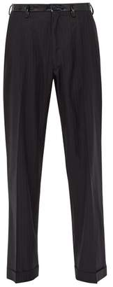 Maison Margiela Pinstripe Pvc Belt Wool Trousers - Mens - Grey