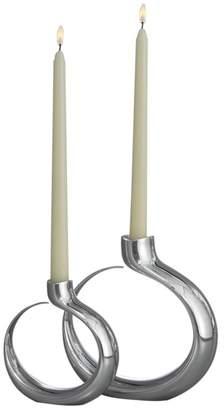 Nambe Globe Alloy Candleholder, Set of 2