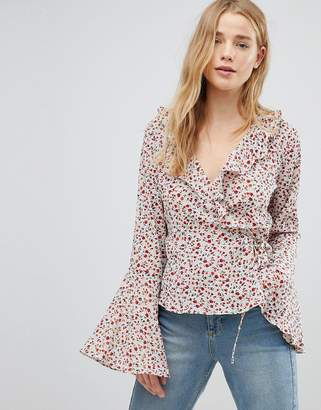 Glamorous Wrap Blouse With Bell Sleeve In Ditsy Floral