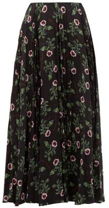 Valentino X Undercover Lip Floral Print Silk Midi Skirt - Womens - Black Multi
