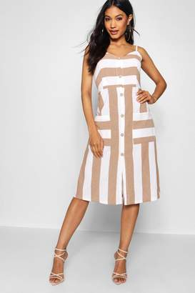 boohoo Wide Stripe Cami Midi Dress