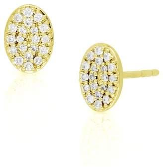 Bony Levy 18K Yellow Gold Pave Diamond Oval Stud Earrings - 0.15 ctw