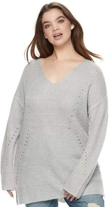It's Our Time Its Our Time Juniors' Plus Size Crossback Tunic Sweater