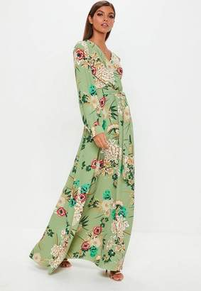 Missguided Green Floral Wrap Front Maxi Dress, Green