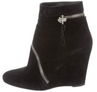 Alexander McQueen Suede Wedge Ankle Boots Black Suede Wedge Ankle Boots