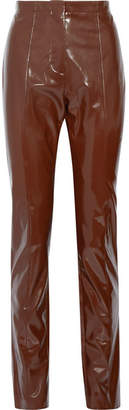 Tugi Vinyl Slim-leg Pants - Chocolate