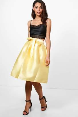 boohoo Azaria Bow Front Woven Box Pleat Midi Skirt