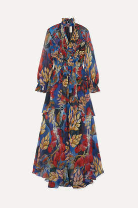 Peter Pilotto Crystal-embellished Ruffled Floral-print Silk-georgette Maxi Dress - Blue