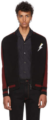 Givenchy Black & Red Knit Teddy Bomber Jacket