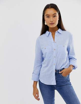 New Look linen shirt in mid blue