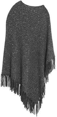 DKNY Fringe-Trimmed Sequin-Embellished Knitted Poncho