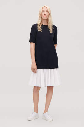 Cos PANELLED COTTON KNIT DRESS