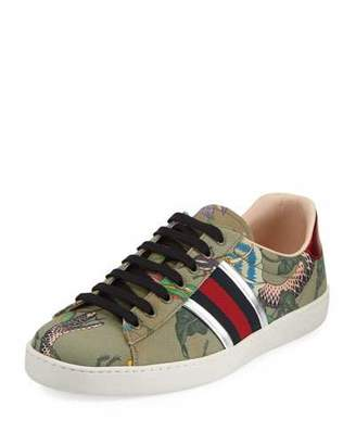 Ace Leather And Webbing-trimmed Printed Canvas Sneakers - GreenGucci bW1BsH
