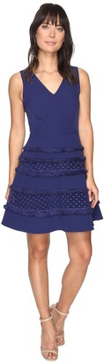 Adelyn Rae - Carol Woven Lace Fringe Fit and Flare Dress Women's Dress $100 thestylecure.com