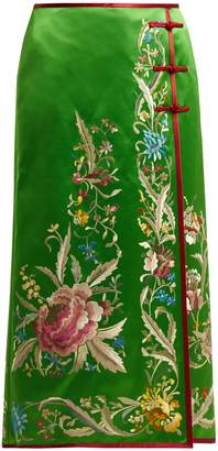 Gucci Floral-embroidered silk-satin skirt