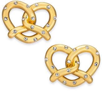 Kate Spade Gold-Tone Pave Pretzel Stud Earrings