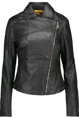 Versace Studded Croc-Effect Leather Biker Jacket