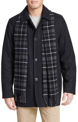 Dockers Weston Wool Blend Car Coat & Removable Scarf