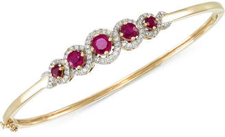 Rare Featuring Gemfields Certified Ruby (1-3/4 ct. t.w.) and Diamond (1/2 ct. t.w.) Bangle Bracelet in 14k Gold