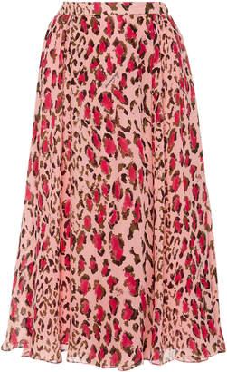 Carolina Herrera Gathered Leopard Print Silk Midi Skirt