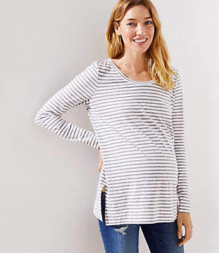 LOFT Maternity Striped Long Sleeve Tunic Tee
