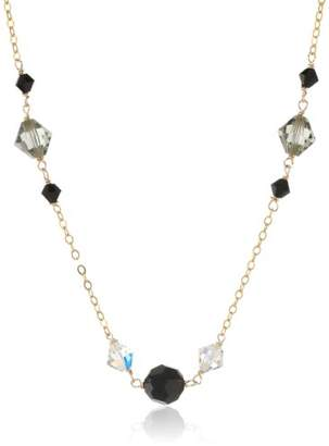 Swarovski Elements Bicone and Bead Stations Gold over Silver Chain Necklace