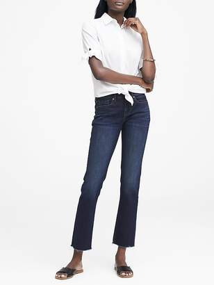 Banana Republic Girlfriend Dark-Wash Jean with Fray Hem