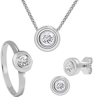 At Co Uk Diamond Line 113209 Women S Solitaire Stud Earrings Set Necklace And Ring 585 White Gold
