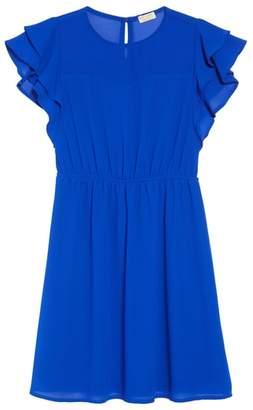 Couture Monteau Flutter Sleeve Dress