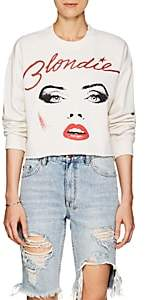 """Madeworn Women's """"Blondie"""" Distressed Cotton-Blend Crop Sweatshirt - White"""