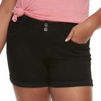 So Juniors' Plus Size SO Cuffed Midi Jean Shorts
